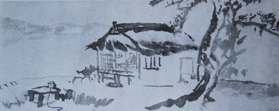 Rengetsu at her hut in Nishigamo painted by Tessai.